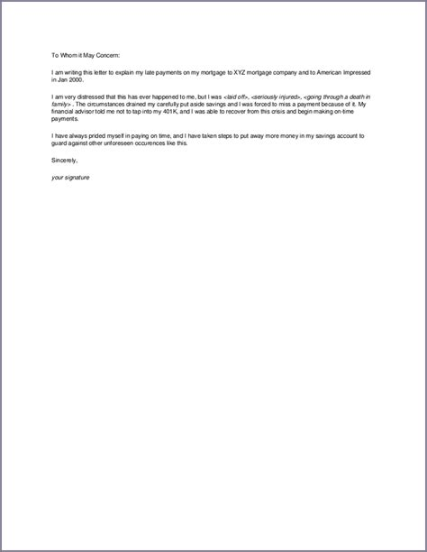Explanation Letter For Late Of Reports Letter Of Explanation For Mortgage Letter To Explain Late