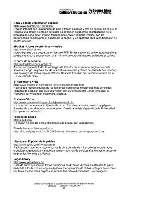 Diseño curricular: Literatura 4° Secundaria Sup by
