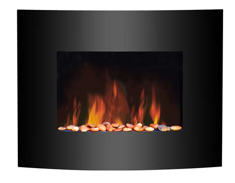 Electric Fireplace Effect by 1 8kw Wall Mounted Electric Fireplace Black Curved Glass