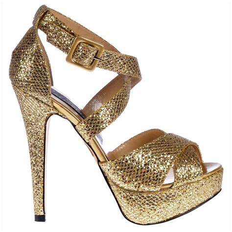 high heels gold shoes shoekandi strappy glitter stiletto platform high heel