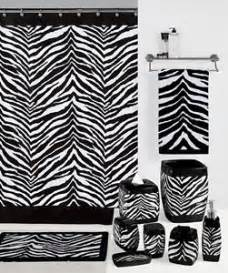 safari black white zebra print bath accessories