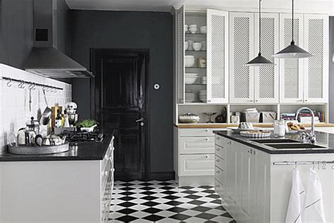 Superior Black And White Checkered Kitchen #1: Modern-bistro-kitchen-black-and-white-tile-floor.jpg