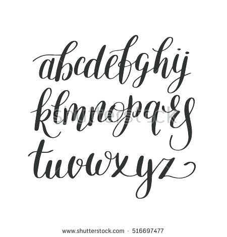 Cursive Lettering Black And White Hand Lettering Alphabet Design Handwritten Brush Script Modern Font Template Maker