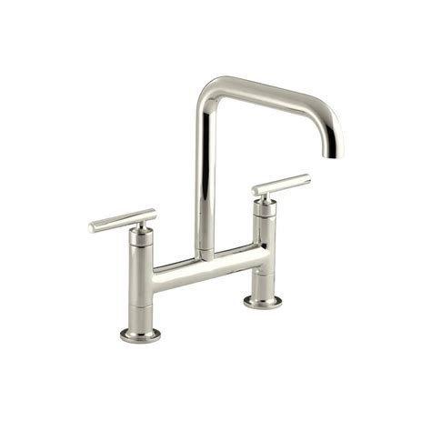 kohler purist kitchen faucet kohler purist 12 in 2 handle deck mount high arc bridge kitchen faucet in vibrant polished