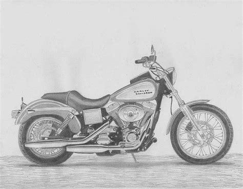 Harley Davidson Drawings by Harley Davidson Low Rider Motorcycle Print Drawing By