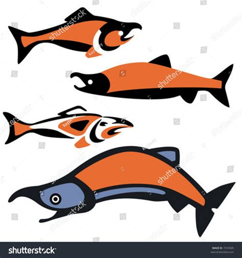 pacific northwest design stock vector illustration of various depictions sockeye salmon drawn pacific stock