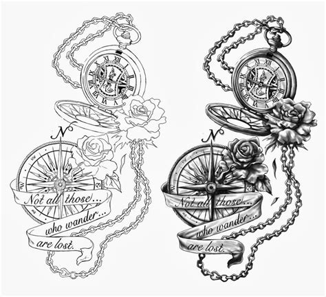 25 best pocket watch tattoo drawings images on pinterest