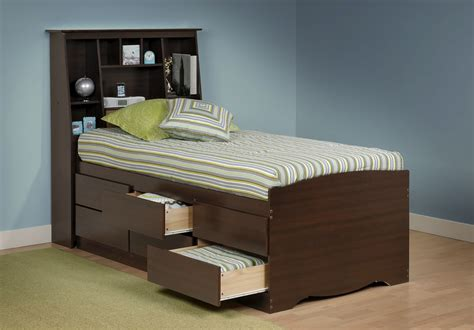 Bed With Storage And Headboard by Captain S Platform Storage Bed W Bookcase Headboard