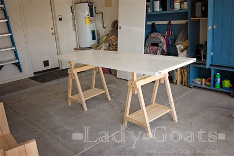 Diy Sawhorse Desk White Adjustable Height Sawhorses Diy Projects