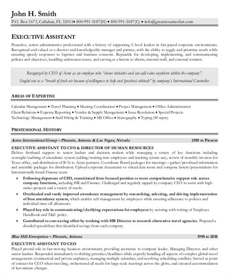 resume exles for executive assistant senior administrative assistant resume 10 free word