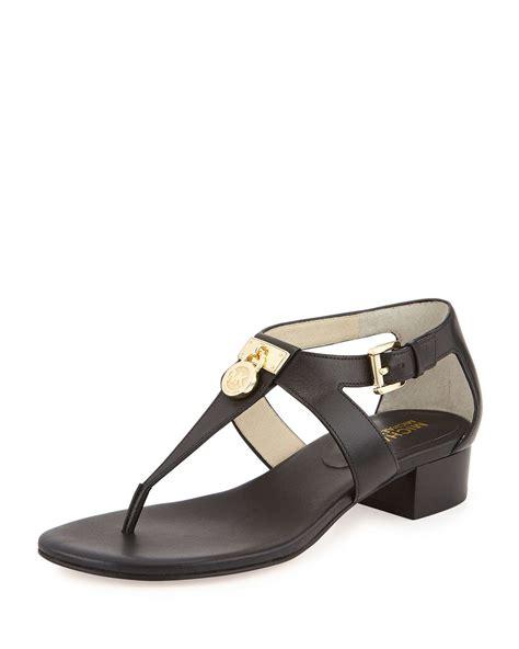michael kors sandals for lyst michael michael kors hamilton leather sandals