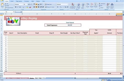 template for ebay ebay store spreadsheet track profit inventory