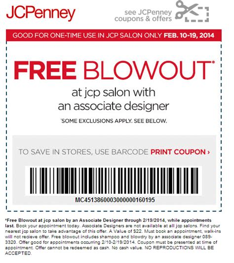 jcpenney printable coupons hair salon jcpenney free blowout through february 19th money