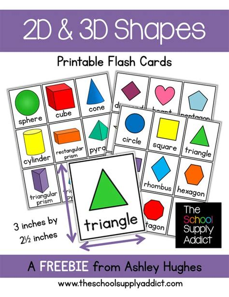 printable geometry flash cards 10 free printable math centers 3d shapes school