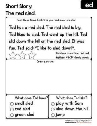 ED Word Family Reading Comprehension Worksheet | Primary