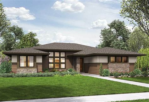 prairie modern 3 bed modern prairie ranch house plan 69603am