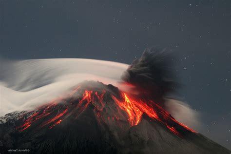 nature landscape clouds trees volcano eruption lava