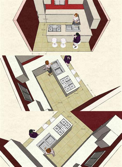piano cottura e lavello cucina con isola o penisola immagini 3d con dimensioni