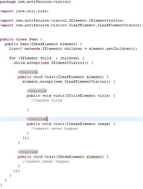 visitor pattern matching actifsource advanced usage of visitor pattern
