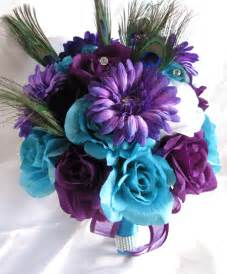 Pew Bows Wedding Bouquet Bridal Silk Flowers Turquoise Purple Plum Peacock Feather 17pc Ebay