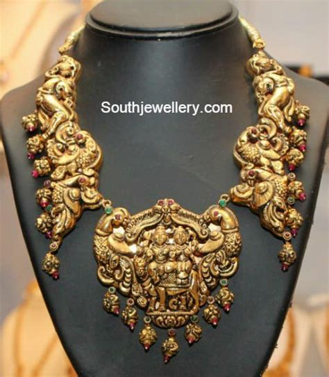 Gold Angti Disain by Peacock Nakshi Necklace Jewellery Designs