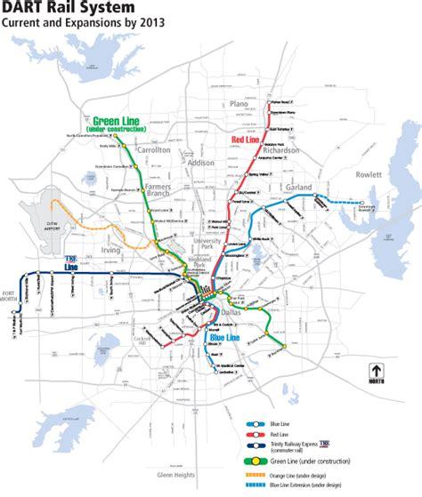 dart map dallas dart s light rail success drives vigorous expansion program light rail now
