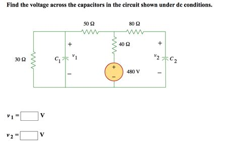 capacitors in dc circuits find the voltage across the capacitors in the circ chegg