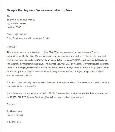Proof Of Employment Letter Sle For Uk Visa Verification Of Employment Letter 12 Free Word Pdf Documents Free Premium Templates