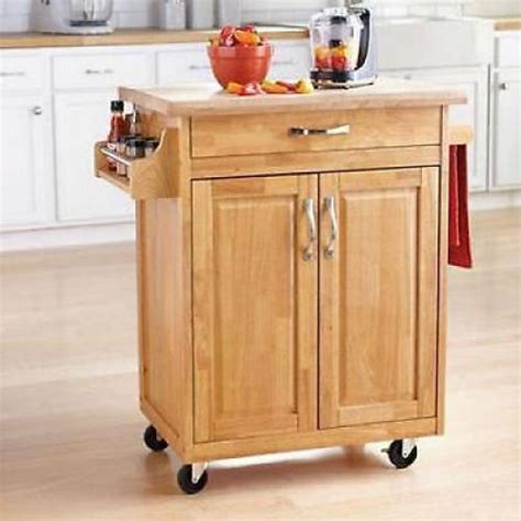Kitchen Storage Carts Cabinets Kitchen Island Cart Mobile Portable Rolling Utility Storage Cabinet Wood Ebay