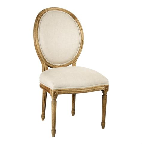 Pair madeleine french country natural linen oval back dining chair kathy kuo home