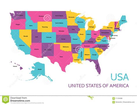 the color of us usa united states of america colored vector map with