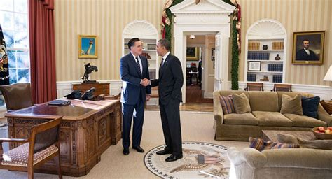 Obama White House by Mitt Romney Visits White House