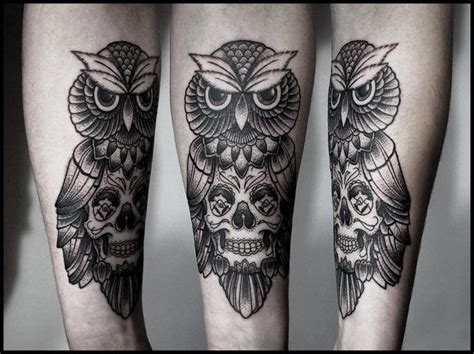 tattoo old school hibou signification tatouage hiboux crane mod 232 les et exemples