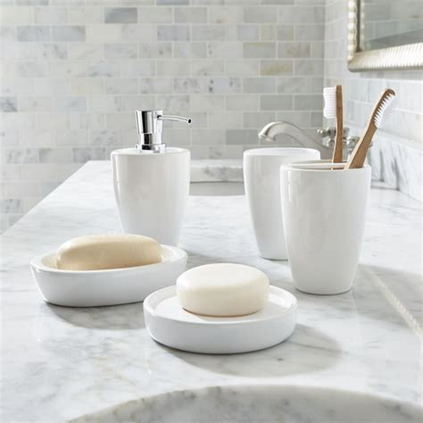 bathroom sets pure white bathroom accessories crate and barrel