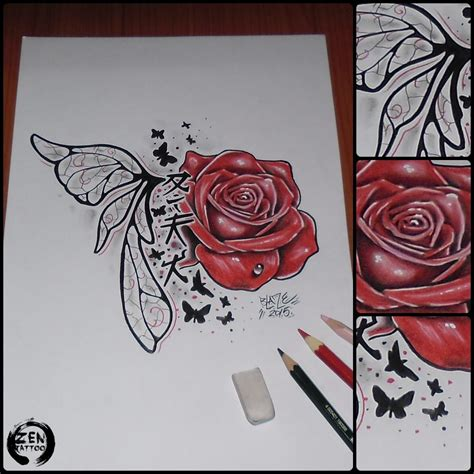 fairy rose tattoo custom with wing design by blaze