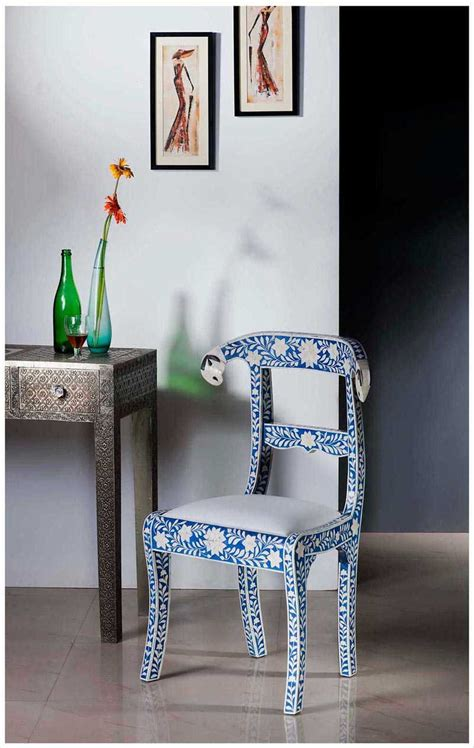 buy  blue resin camel bone inlay chairs