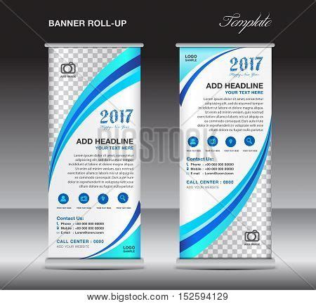 Blue Roll Banner Template Banner Vector Photo Bigstock Pull Up Banner Design Template