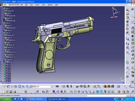 solidworks tutorial gun gun catia 3d cad model grabcad