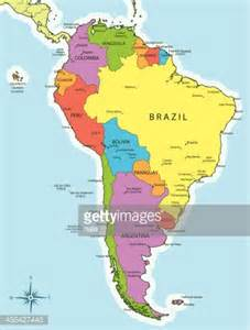 south america map countries and cities vector art getty