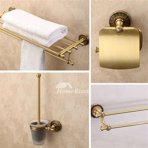 Antique Brass 4 Piece Golden Bathroom Accessories Sets Vintage Bathroom Accessories Sets
