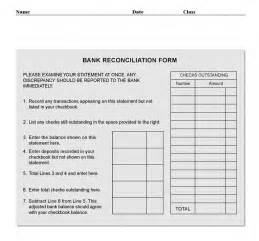 bank reconciliation template free bank reconciliation form pdf template form