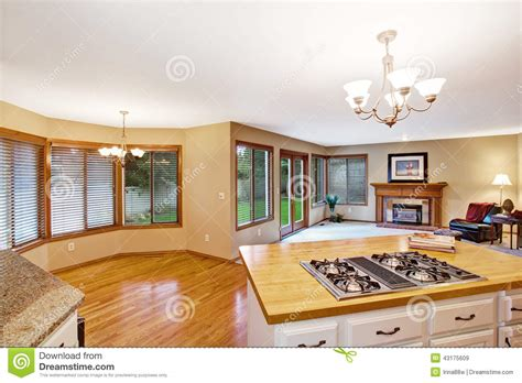 empty house interior living room kitchen area stock image image carpet brown