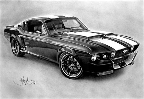 mustang drawing quot mustang gt 500 drawing quot by harding redbubble