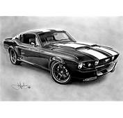 Mustang GT 500 Drawing By John Harding  Redbubble