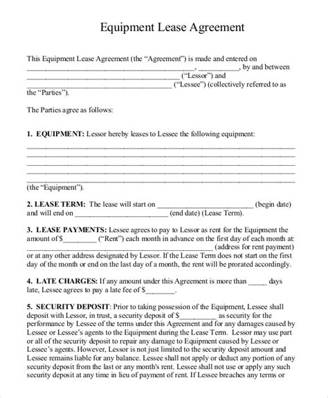 standard lease agreement free template vlcpeque
