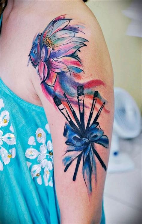 half sleeve watercolor tattoo of different flowers flower images designs