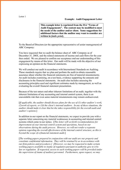 Audit Letter by Audit Engagement Letter Sle Sow Template