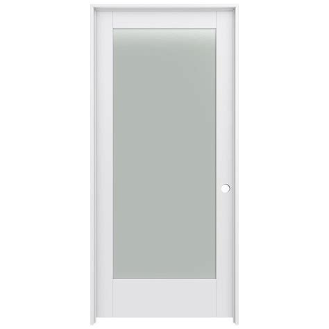 Frosted Glass Panel Doors Shop Jeld Wen Moda Primed 1 Panel Square Frosted Glass Wood Pine Single Pre Hung Door Common