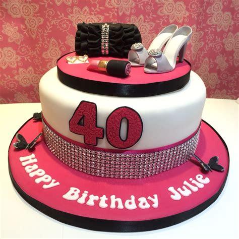 pink black white ladies  birthday cake  shoes