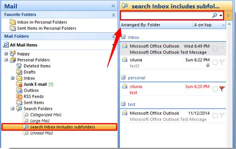 Outlook 2010 Not Searching All Emails How To Search Emails Include Subfolders In Outlook